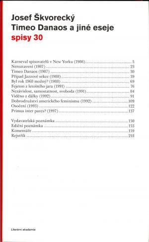 Timeo Danaos a jiné eseje (Spisy 30)